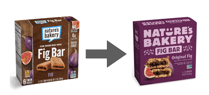 Nature's Bakery packaging redesign before and after